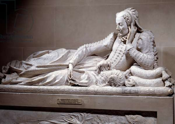 Funeral monument: Tomb with liking of Jeanne Valentine Balbiani (1518-1572), wife of Cardinal Rene de Birague (1506-1583), Chancellor of France. Marble sculpture by Germain Pilon (1535 - 1590), circa 1573. Paris, Musee Du Louvre