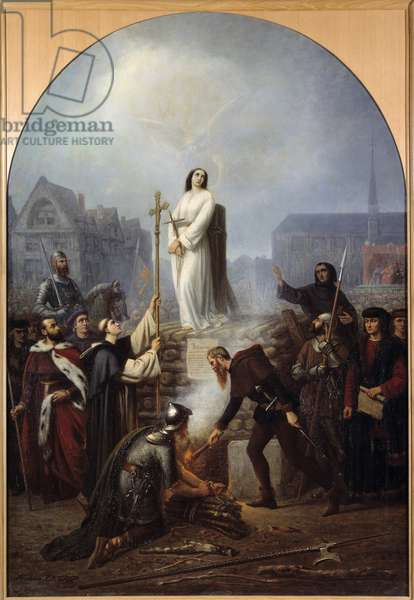 """Hundred Years' War: """""""" the torment of Joan of Arc (1412-1431), May 30, 1431"""", on the butcher, square of the old march in front of the church of Saint Vincent Painting by Frederic Legrip (1817-1871) 1860. Dim. 188x130 cm Rouen, musee des Beaux Arts"""