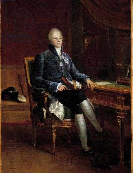 Portrait en pied de Charles Maurice de Talleyrand Perigord, Prince de Benevent (1754-1838) Painting by Francois Gerard (1770-1837). 1808. Dim. 0,32 x 0,22 m. Versailles, Chateau Museum