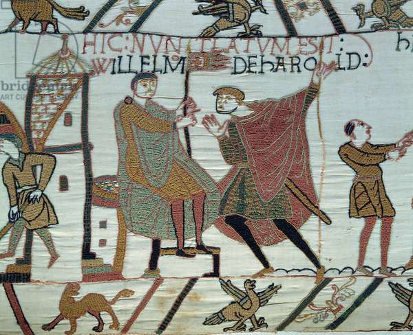 Conquete of England by the Duke of Normandy William the Conquerant (1027-1087) in 1066: a lookout reports the facts of Harold II to William at the Battle of Hastings Detail of Bayeux Tapestry or Embroidery of Queen Mathilde, 1077 (70,34x050 m). Library of Bayeux. Bayeux, Calvados