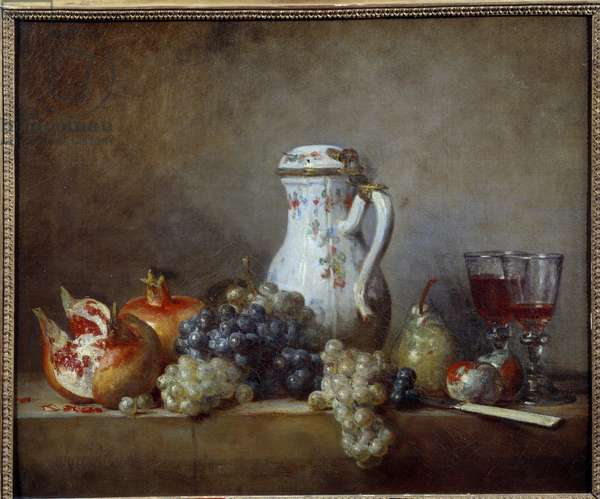 Grapes and Grenades Painting by Jean Baptiste Simeon Chardin (1699-1779) 1763 Sun. 0,47x0,57 m  - Grapes and pomegranates. Painting by Jean Baptiste Simeon Chardin (1699-1779), 1763. 0.47 x 0.57 m. Louvre Museum, Paris