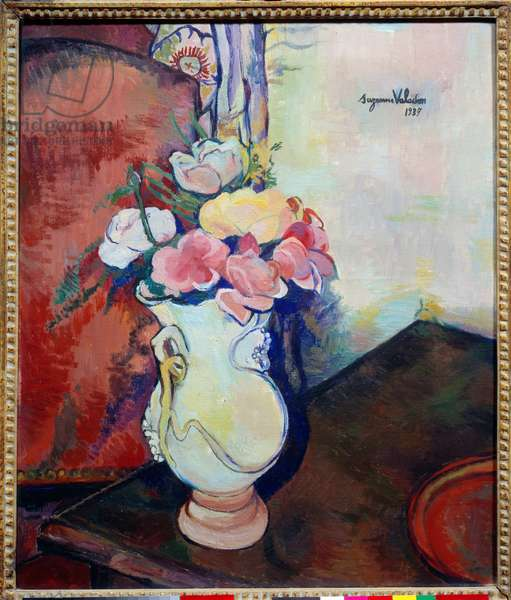 Vase of flowers. Painting by Suzanne Valadon (1865-1938), 1938. Lyon, Musee Des Beaux Arts. - Vase of Flowers. Painting by Suzanne Valadon (1865-1938), 1938. Fine Arts Museum, Lyon, France