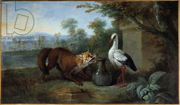 The fox and the stork Illustration for the fable by Jean de la Fontaine. painting by Jean Baptiste Oudry (1686-1755) 1751. Metz, Museum of Fine Arts