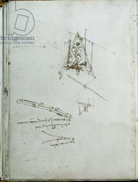 Science and technology: manuscript on flying machines, helicopter ancestor. Book of Leonardo da Vinci (Leonardo da Vinci) (1452-1519). Around 1487. Paris, Library of the Institut de France