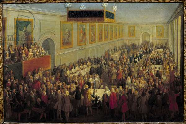 Feast of the sacre of Louis XV at the Archiepiscopal Palace of Reims October 25, 1722 Painting by Pierre Denis Martin (1663-1742) 1722 Sun. 0,46x0,7 m Versailles, musee du chateau