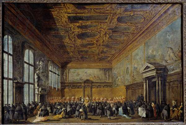 The audience granted by the Doge of Venice (probably Alvise IV Mocinego (1701-1778)) in the College Hall at the Ducal Palace of Venice Painting by Francesco Guardi (1712-1793) 1766-1770 Sun. 0,67 x 1,01 m