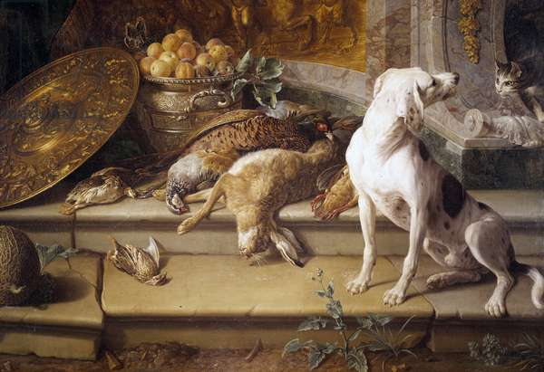Still Life Hunting Dog, game (hare, pheasant, partridge) Detail. Painting by Francois Desportes (1661-1743) 18th century Gien, hunting museum