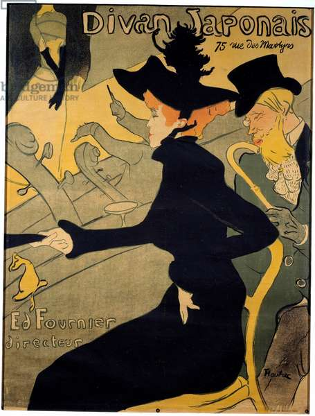 "Poster for the Parisian cabaret """" The Japanese couch"""" depicting the dancer Jane Avril (1868-1943) and the dancer. writer Edouard Dujardin (1861-1949) watching singer Yvette Guilbert (1867-1944) performing on stage - Lithography by Henri de Toulouse-Lautrec (Toulouse Lautrec) (1864-1901), 19th century Private Collection"