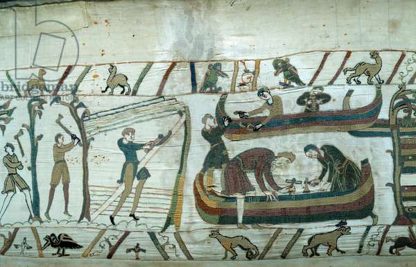 Conquete of England by the Duke of Normandy William the Conquerant (1027-1087): construction of the Norman fleet Detail of the tapestry of Bayeux or Embroidery of Queen Mathilde, 1077 (70,34x050 m). Library of Bayeux. Bayeux, Calvados