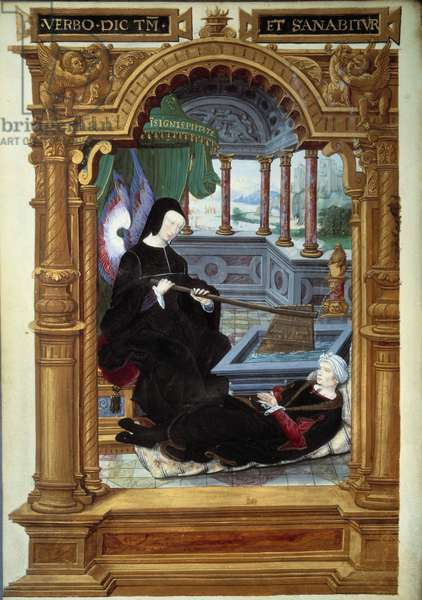 """Allegory of the regency of Louise de Savoie (1476-1531), mother of Francois I, represented holding a rudder and carrying angel wings. The author of the manuscript is lying at his feet. Miniature taken from """""""" Geste de Blanche de Castille"""""""" by Etienne Le Blanc. 1524-1526. Paris, B.N."""