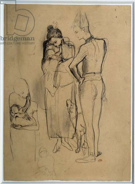 Family of saltibanks. Drawing by Pablo Picasso (1881-1973), 1905. Lead, black pencil and brown pencil tops. Dim: 0.37 x 0.26m. Paris, Musee Picasso.