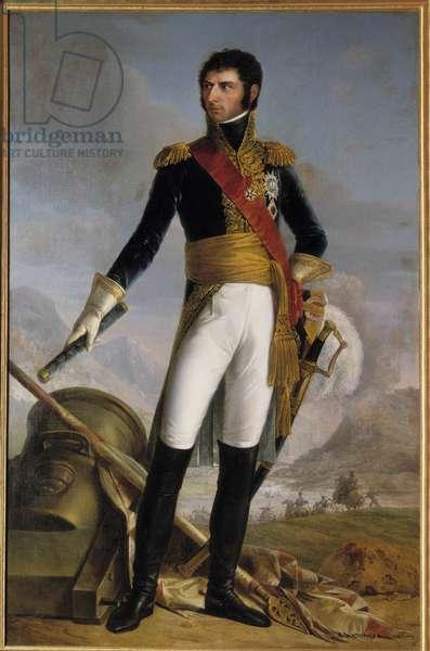 Portrait en pied de Jean Baptiste Jules Bernadotte (1763-1844) prince de Ponte Corvo then Charles Jean XIV, king of Suede in 1818, represented in 1804 Painting by Joseph Nicolas Jouy (1809-1880) 1852. Dim. 2,1x1,4 m.