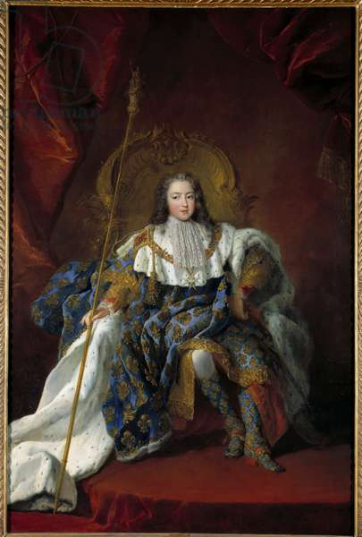 Portrait of Louis XV (1710-1774) child on his trone covered in the costume and attributes of the sacred Painting by Alexis Simon Belle (1674-1734) 1723 Sun. 2,26x1,8 m Versailles, musee du chateau - Portrait of Louis XV (1710-1774), as a child on his throne with coronation dress - Painting by Alexis Simon Belle (1674-1734), oil on canvas (226 x 180 cm), 1723 - Museum of the castle of Versailles, France