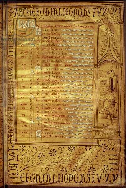 November calendar page: representation of a peasant discovering a pig. French manuscript, 16th century Paris, B.N.