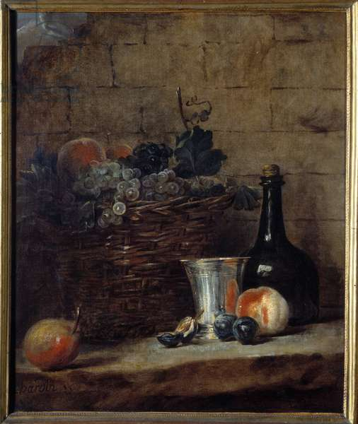 Basket of white and black grapes, silver cup and bottle Painting by Jean Baptiste Simeon Chardin (1699-1779) 18th century Sun. 0,69x0,58 m