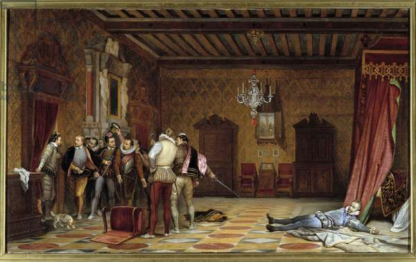 Assassination of the Duke of Guise (Henry I of Lorraine, known as the Balafre, 1550 - 1588), French soldier and statesman, by order of Henry III at the chateau of Blois on 23/12/1588 Anonymous painting. 1835 Sun. 0,57x0,98 m Blois, musee du chateau
