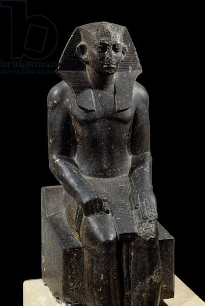 Ancient Egyptian Art: Statue of King Sesostris III juvenile - Diorite sculpture around 1870 BC (12th Dynasty, circa 1963-1786) - From the site of Medamoud (Egypt) - Height: 1,2 m - Paris, Musee du Louvre