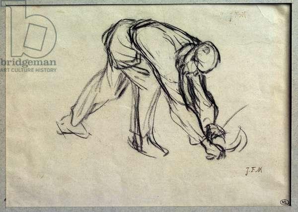 Le reap preparatoire drawing by Jean Francois Millet (1814-1875) 19th century Paris, Musee du Louvre