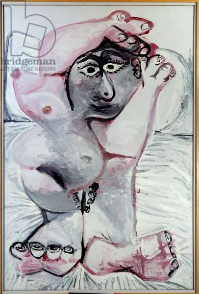 Portrait: naked layer. oil on canvas. Dim: 1,95 x1,30m. Painting by Pablo Picasso (1881-1973), 1967. Paris, Musee Picasso