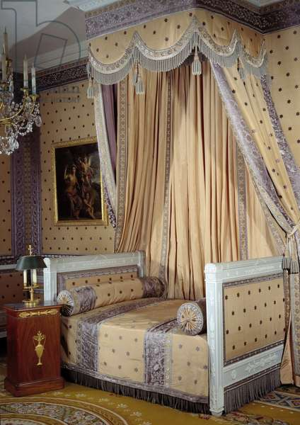 View of the bedroom of emperor Napoleon I (1769-1821) 19th century Versailles, castle museum