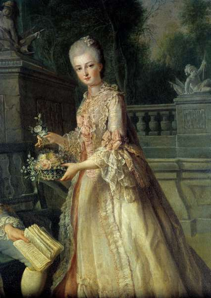 Portrait of Louise Adelaide, future Duchess of Orleans (1753-1821) Detail. Painting by Jean Baptiste Charpentier (1728-1806) 18th century.