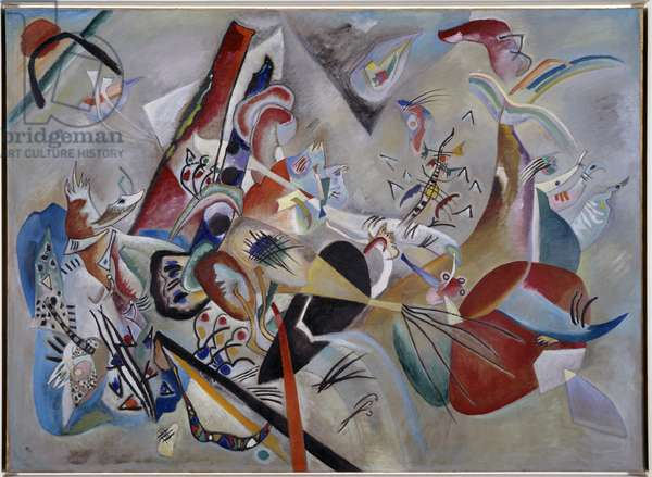 In the gray. Painting by Vassily Kandinsky (or Wassily Kandinski or Kandinskij, 1866-1944), 1919. Oil on canvas. Dim: 1,29 x 1,76m. Paris, Musee National d'Art Moderne.