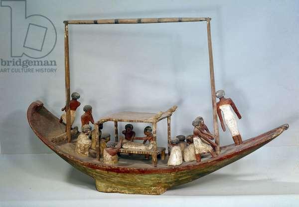 Art Egypt: Funerary boat. Painted wooden model. Paris, Musee du Louvre.