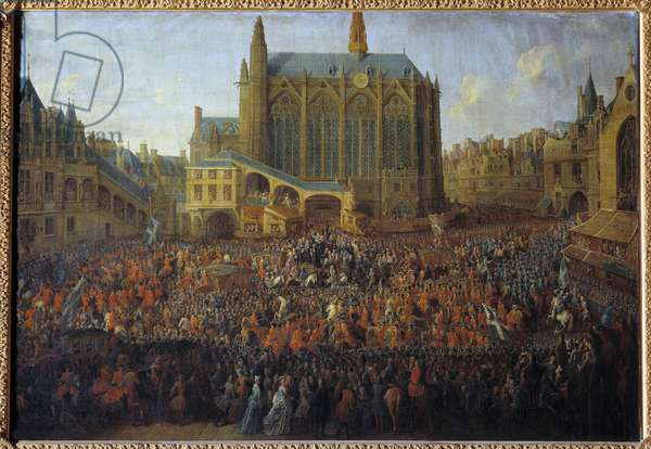 Departure of Louis XV after the bed of justice breaking the will of Louis XIV, held in the Grand Chamber of the Parliament of Paris, 12 September 1715, the Royal cortege crossing the court of the Sainte Chapelle Painting by Pierre Denis Martin (1663-1742) 1735 Sun. 0,88x1,25 m Versailles, musee du chateau - Departure of Louis XV after the 'bed of justice' breaking the will of Louis XIV, held in the Grand Chamber of the Parliament of Paris, 12 September 1715, the Royal procession crossing the courtyard of the Sainte Chapelle. Painting by Pierre Denis Martin (1663-1742), 1735. 0.88 x 1.25 m. Versailles, Castles of Versailles and Trianon