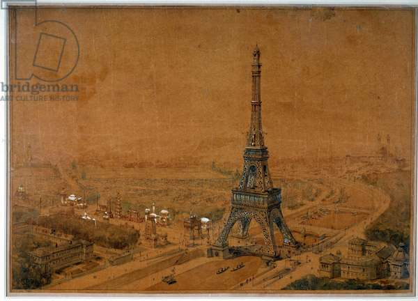 Eiffel Tower project of the 1886 competition refuses for the 1889 exhibition. Drawing of 1886. Paris, National Archives