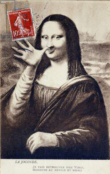"Detournee representation of """" The Mona Lisa"""" by Leonardo da Vinci (Leonardo da Vinci) (1452-1519): Mona Lisa (Monna Lisa) greeting to signify her departure to find her """" Vinci"""".Comedy postcard edited at the time of the theft of the work by Vincenzo Peruggia (1881-1925) which took place privately on 21/08/1911 Collection ee"