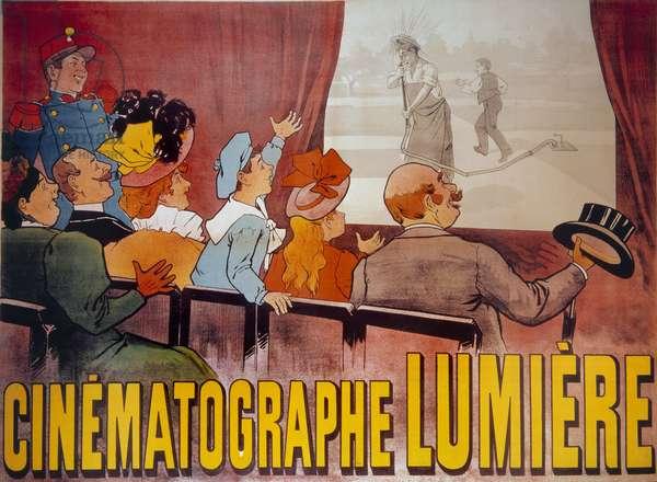 """Poster for the cinematographer of the Lumiere brothers: """""""" L'Arroweur arrose"""""""" in 1895, Musee de l'Poster et de la Publicite, Paris - Poster for the Lumière brothers cinematograph: """""""" L'Arrowseur arrosé"""""""" in 1895, Museum of Advertising, Paris"""