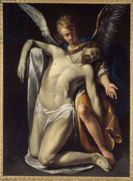 The Dead Christ Supported by an Angel Painting by Daniel Crispi (1600-1630) 17th century Sun. 1,49x1,15 m Rouen, Musee des Beaux Arts
