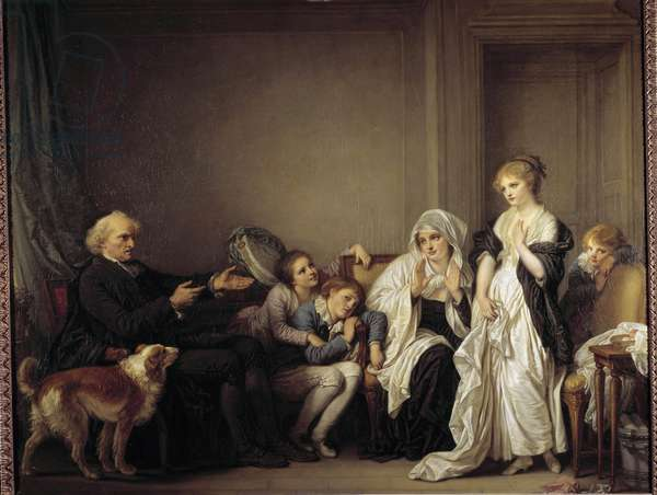 Le cure et la jeune widow Painting by Jean Baptiste Greuze (1725-1805) 18th century