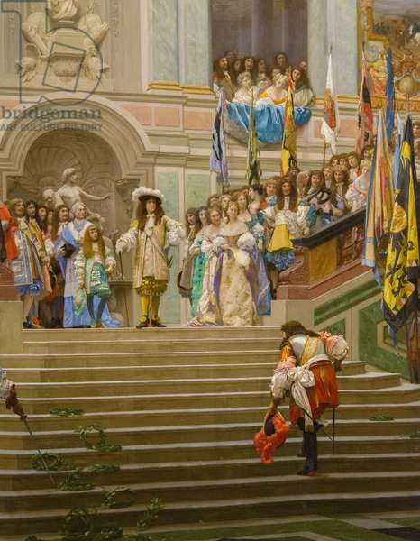 Reception of Louis 2 de Bourbon Conde said the Grand Conde by King Louis 14 a Versailles in 1674 (oil on canvas 1878 0.95 x 1.39)