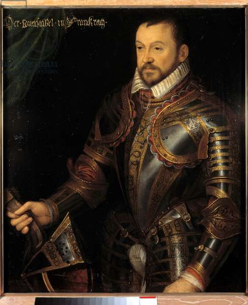 Portrait of Francois I, Duke of Montmorency, marechal of France (1530-1579) in armor engraved with his monogram and that of his wife Diane de France Painting of the French School of the 16th century. Dim. 0,87x0,74 m. Versailles, Chateaux de Versailles et de Trianon - Portrait of Francois I, Duke of Montmorency, Marshal of France (1530-1579) in armor engraved with his monogram and that of his wife Diane of France. Painting of the French School, 16th century. 0.87 x 0.74 m. Castles of Versailles and Trianon, Versailles, France