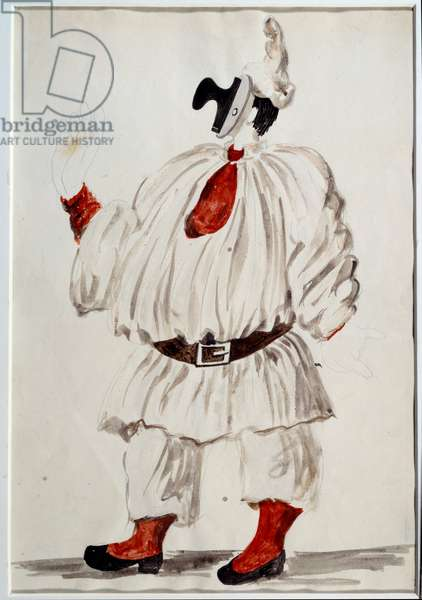 Project for Pulcinella's costume. Drawing by Pablo Picasso (1881-1973), 1920. Gouache and lead mine. Dim: 0.34 x 0.23m. Paris, Musee Picasso.