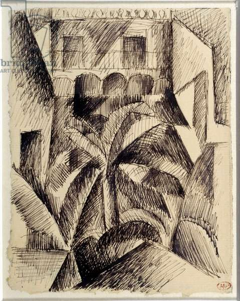Houses and palm trees. Drawing by Pablo Picasso (1881-1973), 1909. Black pen and ink. Dim: 0,17 x 0,13m. Paris, Musee Picasso.