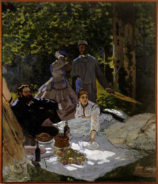 Breakfast on grass Fragment. Left part. Right side: representation from left to right of Gustave Courbet, Camille Doncieux and Frederic Bazille (standing in the centre). Painting by Claude Monet (1840-1926) 1865-1866 Sun. 2,48x2,17 m Paris, musee d'Orsay.