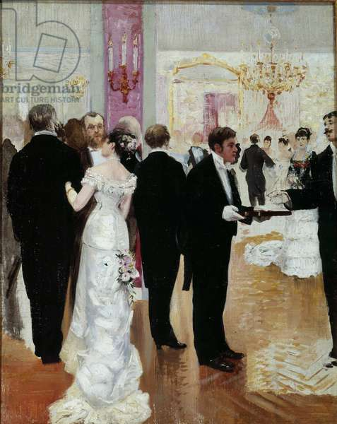 The reception A social evening in the Parisian society of the Belle Epoque. Painting by Jean Beraud (1849-1935) 20th century. Private collection