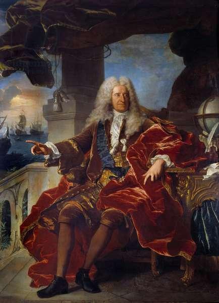 Portrait of the banker Samuel Bernard (1651-1739) Painting by Hyacinthe Rigaud (1659-1743) 18th century Sun. 2,65 x 1,66 m