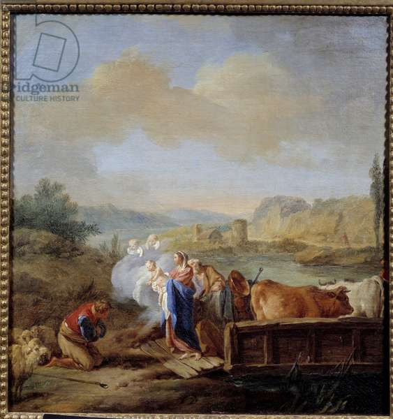The flight in Egypt Painting by Jean Baptiste Pierre (1713-1789) 18th century Sun. 047x0,45 m Rouen, Musee des Beaux Arts