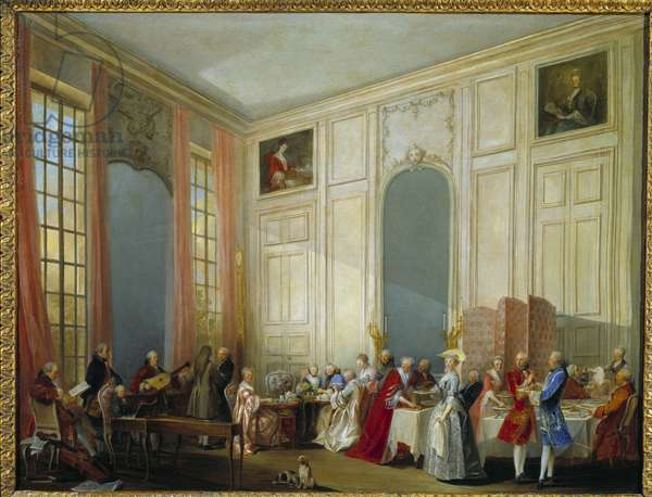 Le The a l'Englishman served in the Salon des Quatre Glaces (Four Glaces) at the Palais du Temple in Paris in 1764 The young Wolfgang Amadeus Mozart (1756-1791) sits on the left at the harpsichord in the presence of the entire court of the prince of Conti. Painting by Michel Barthelemy Ollivier (1712-1784) 1766. Sun. 0,53x0,68 m