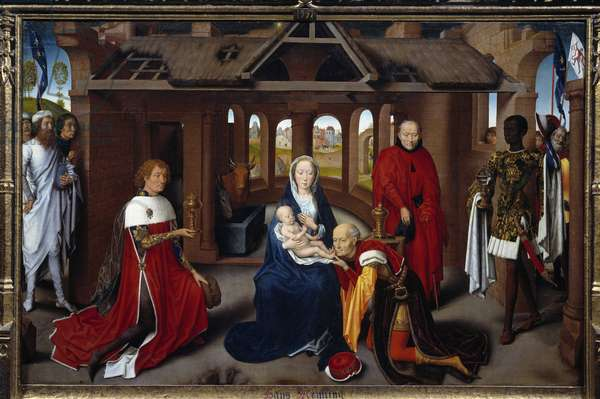 Triptych of Adoration of the Magi: central panel. The mages are like Charles the Temeraire and Philip the Good. Detrempe on wood by Hans Memling (1433-1494). circa 1470, Sun. 0,95x1,45 m Madrid. Musee du Prado. - Triptych of the Adoration of the Magi: central panel. The Magi are portraits of Charles the Bold (Charles le Temeraire) and Philip the Good (Philippe Le Bon). Tempera on wood by Hans Memling (1433-1494). ca. 1470. 0.95 x 1.45 m. Prado Museum, Madrid, Spain
