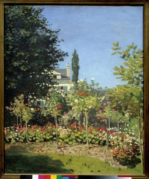 A flower garden in Sainte Adresse. Painting by Claude Monet (1840-1926), 1866. Oil on canvas. Dim: 0.65 x 0.54m. Paris, Musee D'Orsay - Flowering garden at Sainte Address. Painting by Claude Monet (1840-1926), 1866. Oil on canvas. 0.65 x 0.54 m. Orsay Museum, Paris