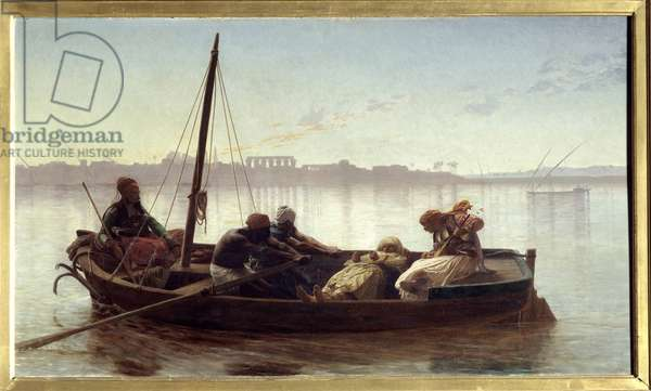 Prisoner A prisoner carries by boat by Egyptian sailors on the Nile. Painting by Jean Leon Gerome (1824-1904) 1861 Sun. 0,45x0,78 m Nantes, Musee des Beaux Arts