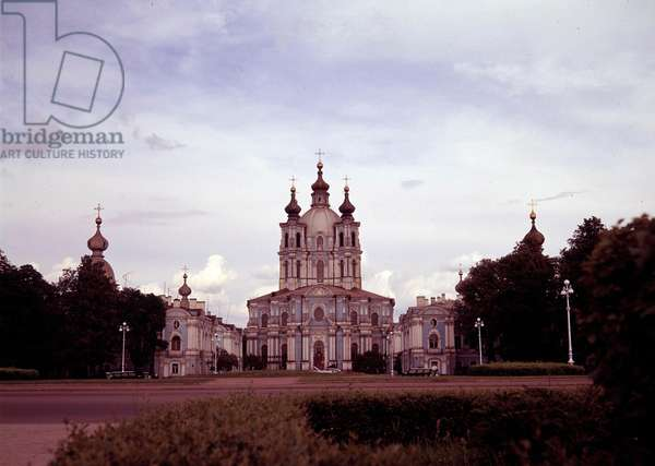 Architecture: view of the Smolny monastery built between 1748 and 1835 by architect Francesco Bartolomeo Rastrelli (1700-1771), Saint Petersburg, Russia.