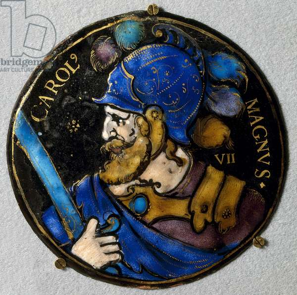 Representation of Charlemagne (Charles I the Great) (742 - 814), King of France. Medallion in email from Limoges of the 16th century. Listen, National Renaissance Museum