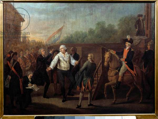 Louis XVI went to the scaffold on 21 January 1793. English painting by Charles Benazech (1767 - 1794), 18th century. Oil on canvas. Dim: 0,42 x 0,52m.