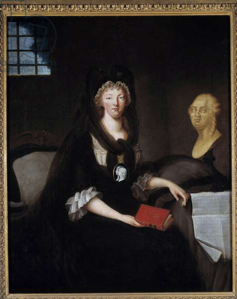 "Portrait of Marie Antoinette (1755-1793) in great mourning at the Temple Prison (or Marie Antoinette at the Concierge, in mourning, with a camee representing the dolphin, holding a book of the life of Mary, Queen of Scotland, near a bust of Louis XVI and her will placed on the table, 23 December 1792) Painting by Anne Flore Millet (172-52-52-52-52-52-52-52-52-52-52-52-5 pres 1800) 1793 Sun. 0,74 x 0,57 m Paris, musee Carnavalet - Portrait of Marie Antoinette (1755-1793) in deep mourning at the prison of the Temple (or """" Marie-Antoinette at the Concierge, in mourning, with a cameo, pendant portraying the Dauphin, holding a life of Mary, Queen of Scots, a bust of Luis XVI and the Testament of 23 December 1755-1759 92 on the draped table beside""). Painting by Anne-Flore Millet (1752- after 1800), 1793, after Alexander Kurcharsky (1741-1819). 0.74 x 0.57 m. Carnavalet Museum, Paris"