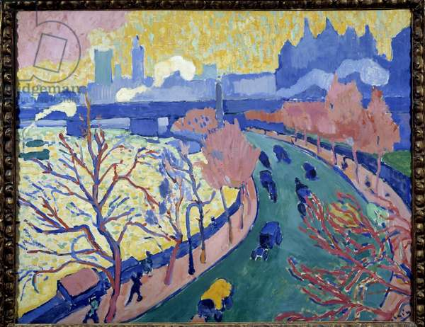 Charing Cross Bridge, London. Painting by Andre Derain (1880-1954), 1906. Oil on canvas. Dim: 0,81 x 1m. Paris, Musee d'Orsay.